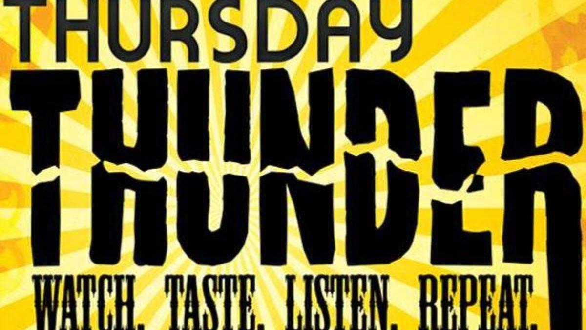 Thursday Thunder logo, watch, taste, listen, repeat