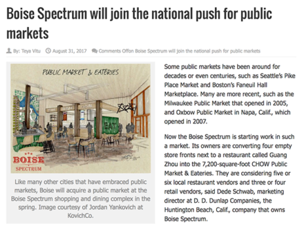 newspaper clipping showcasing Boise Spectrum's new CHOW eatery