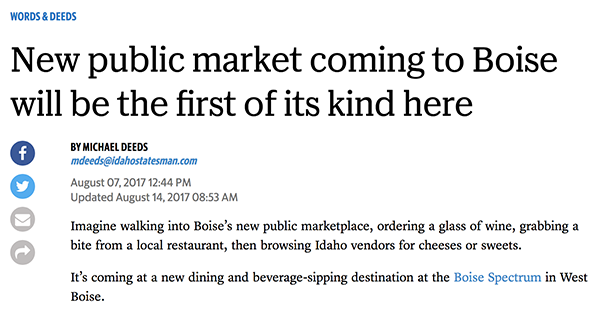 newspaper clipping about new public market coming to Boise